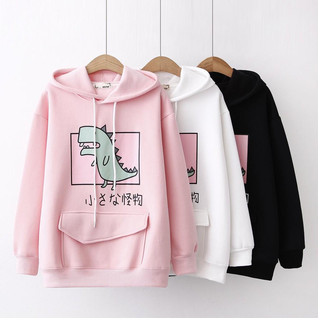 Áo Khoác Hoodie 🚚 FREESHIP 🚚 Áo Khoác Nỉ Hoodie Khủng Long Cute (nhiều màu) mẫu hoodie mới nhất 2020
