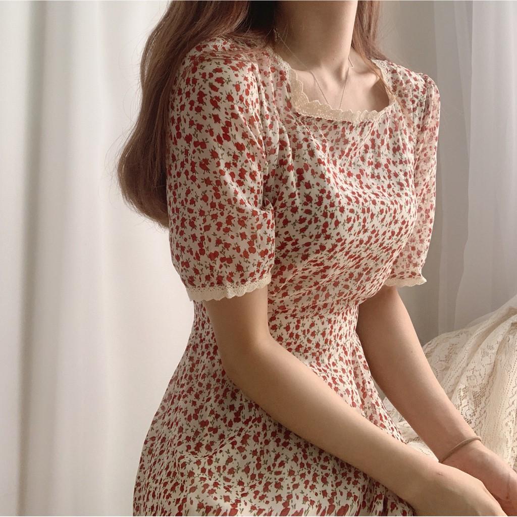 Mặc gì đẹp: Sang chảnh với Váy hoa nhí ren trắng tay ngắn ulzzang dáng dài vintage , Đầm dự tiệc cổ vuông chiffon (video ảnh thật)