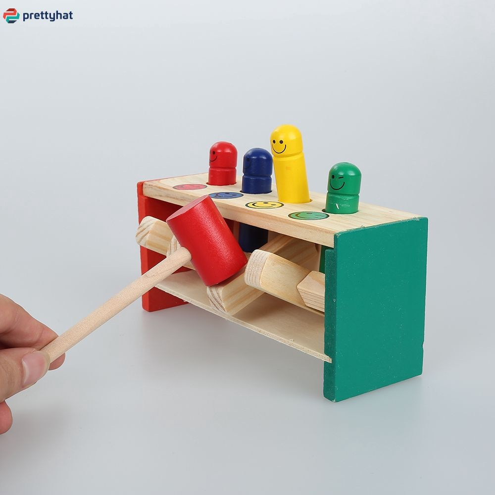 Colorful Cute Wooden Hammer Pounding Bench Toy Gifts For Baby PT