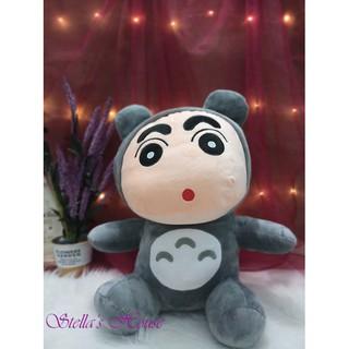 Gấu bông BÉ SHIN đội mũ Totoro vải nhung cao cấp