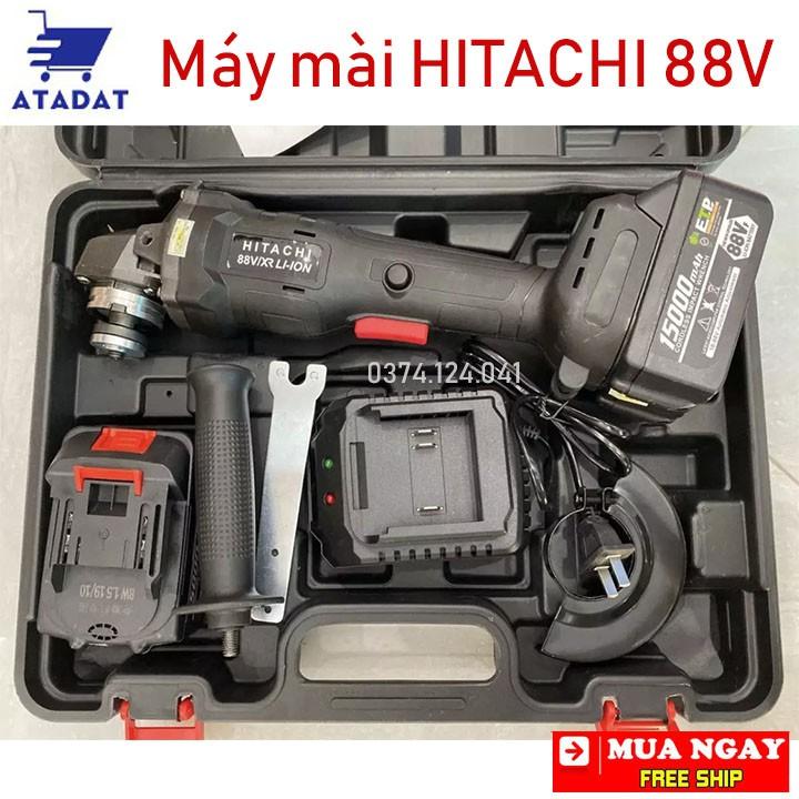 [FREESHIP] Máy mài cầm tay dùng pin HITACHI 88V , Máy mài góc 2 pin không chổi than, lõi đồng Chuyên dụng trong thi công