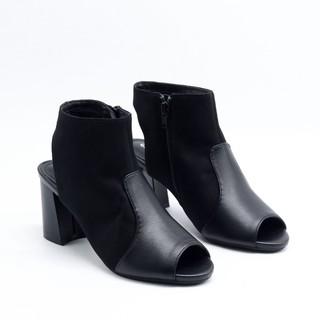 Boot Hở Mũi Hở Gót Da Lộn 5cm Evashoes - Eva1023(Màu Đen) thumbnail