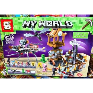 MINECRAFT _ Lego Minecraft Nhện Quái Vật, Rồng Đen Chiến Đấu Khung Thành ( 830 mảnh)