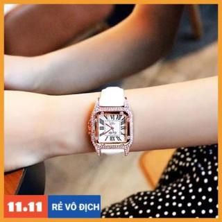 [Hàng chính hãng] Đồng hồ nữ Caiqi chính hãng dây da mặt vuông viền đá thumbnail