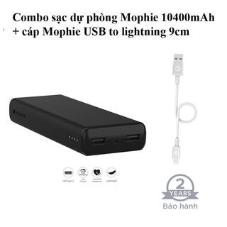 Combo Sạc dự phòng mophie Power Boost XL 10400mAh - cáp USB-A to lightning Mophie 9cm
