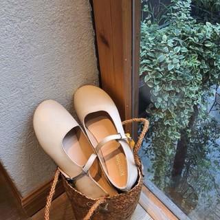 Giày búp bê da lì mũi tròn quai ngang Hàng quảng châu