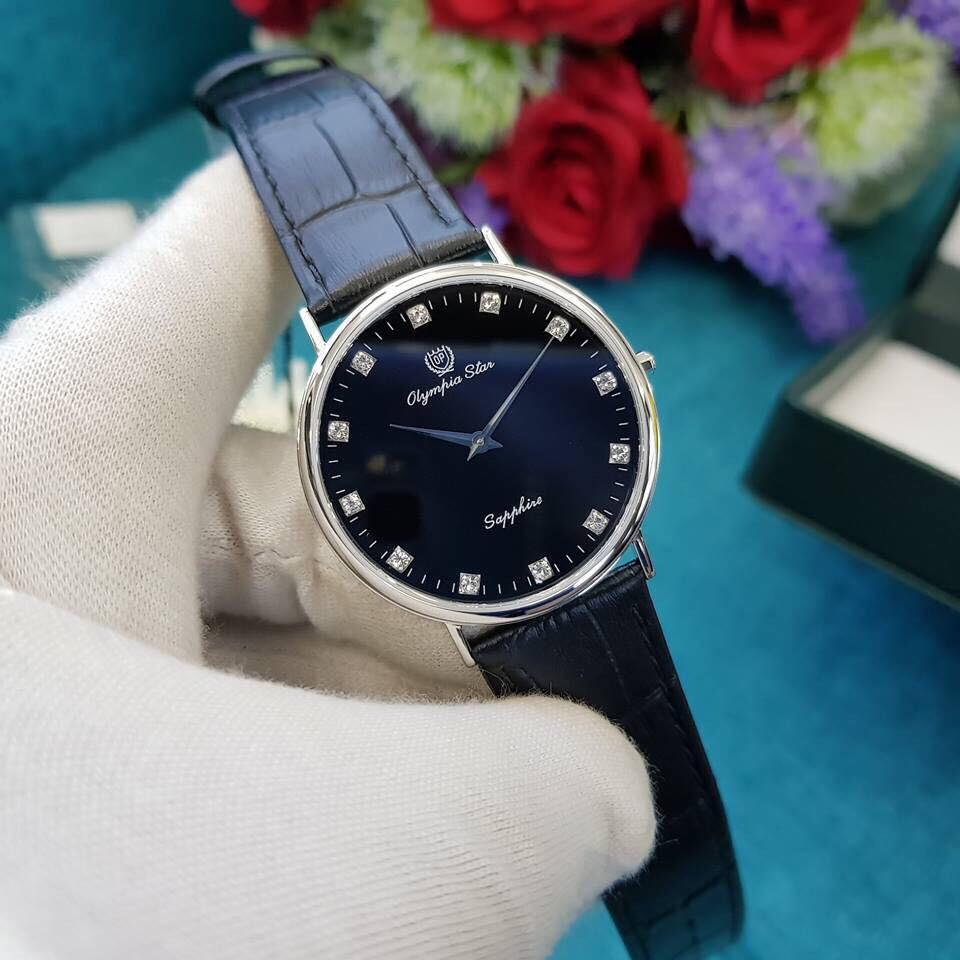 Đồng hồ nam dây da Olympia Star OPA58035 OPA58035MS-GL đen
