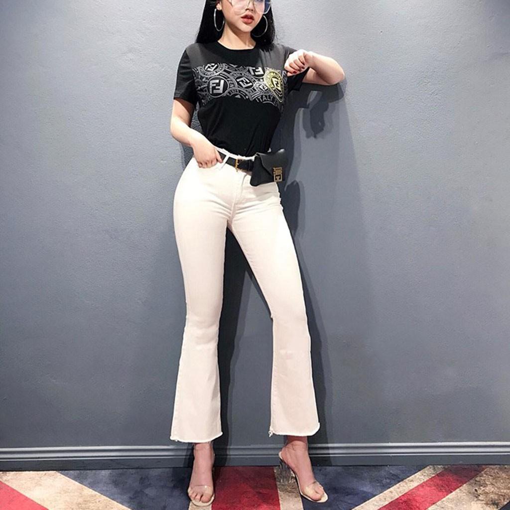 Quần Ống Loe Lưng Cao Trắng Đen | Quần Jeans Nữ Ống Loe Co Giãn Tốt ( Hàng Sẵn + Tặng Vớ ) | SaleOff247