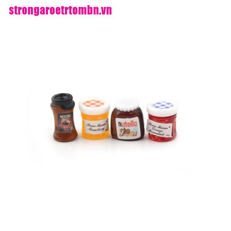 【Omvn】4pcs/set Dollhouse Miniature 1:12 Kitchen Food Jam Coffee Condiment DIY