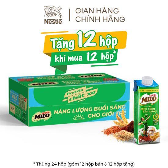 Hình ảnh [Mua 12 tặng 12] Thùng 24 hộp sữa lúa mạch ngũ cốc Nestlé MILO teen bữa sáng ít đường 200 ml/hộp-0
