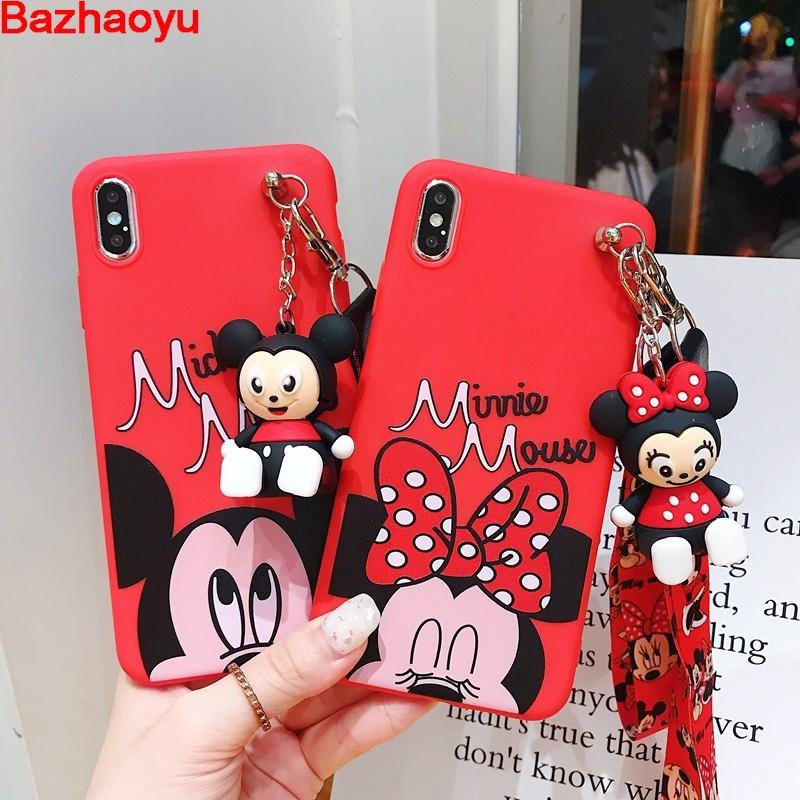 Mickey Minnie Soft Silicone Case With Strap OPPO R15 R15 PRO R17 R17 PRO