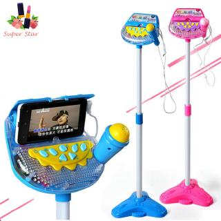 Kids Standing Microphone Musical Toy Karaoke Machine Sing Toy with MP3 Microphones Disco Flashing