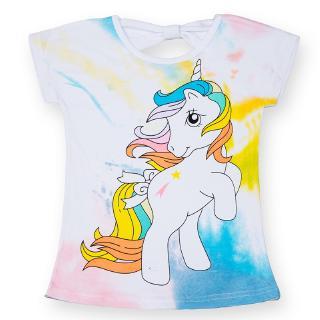NNJXD Áo thun trắng in hình ngựa một sừng dễ thương cho bé gái