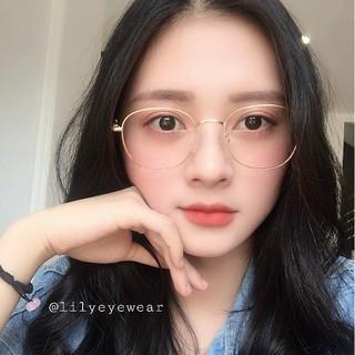 Hình ảnh [Mã FARSBR22A giảm 10% đơn 99k] Gọng kính cận nam nữ Lilyeyewear mắt tròn chất liệu kim loại phụ kiện thời trang 28107-4