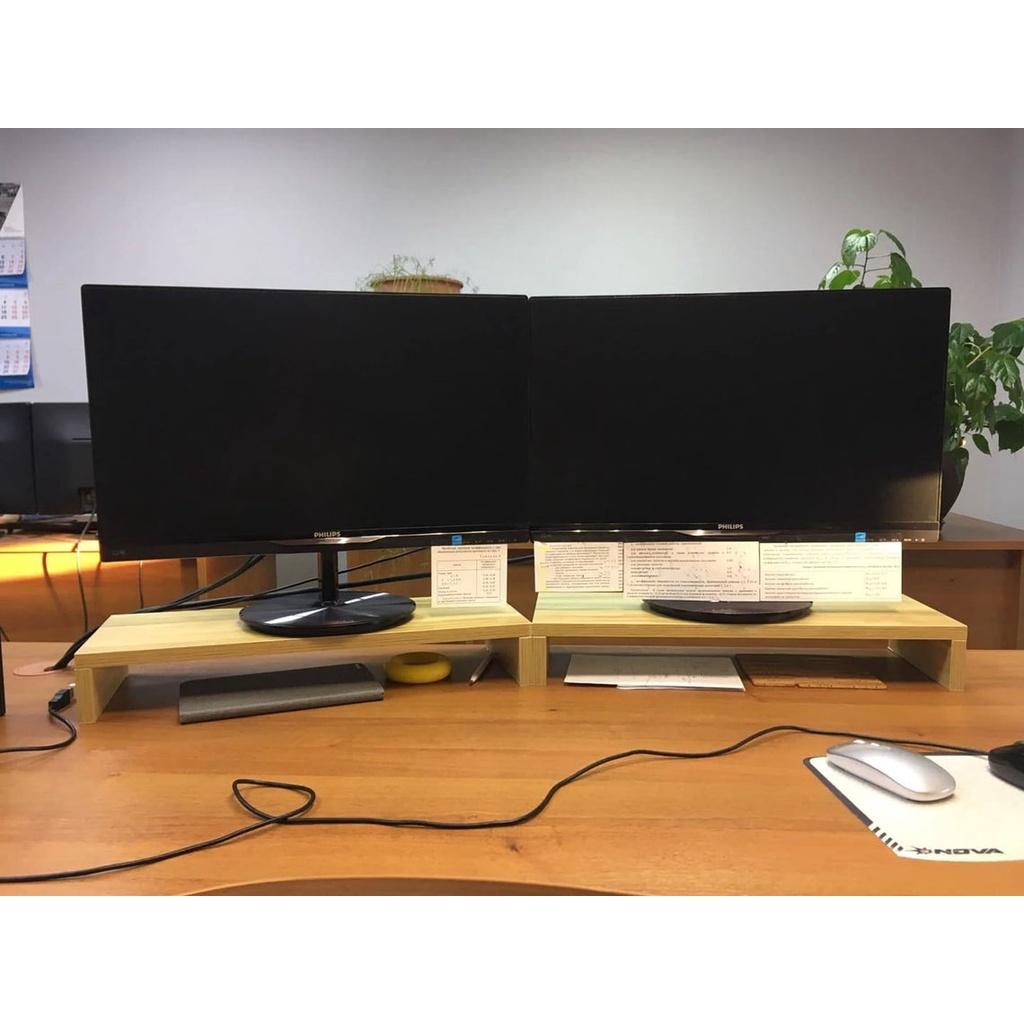 Kệ gỗ để màn hình máy tính FAS.BAS nâng màn hình lên đến 10cm / Giảm đau cổ / Giúp bàn làm việc gọn gàng