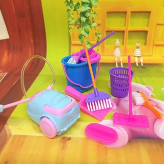 9Pcs Simulation Home Cleaning Tools Playset Mini Floor Broom Mop Dust Collector