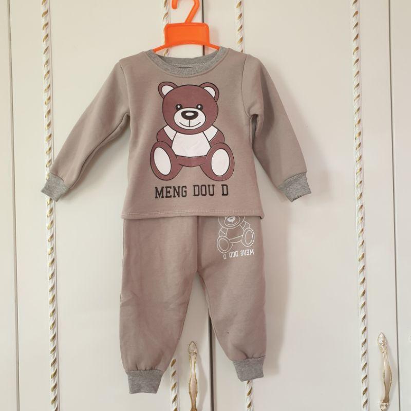 Bộ Nỉ Bông Trẻ Em 8-18kg Hình Gấu 3D Cực dầy FREE SHIP Bộ Thu Đông Cho Bé Trai, Bé Gái - Quần Áo Trẻ Em 105