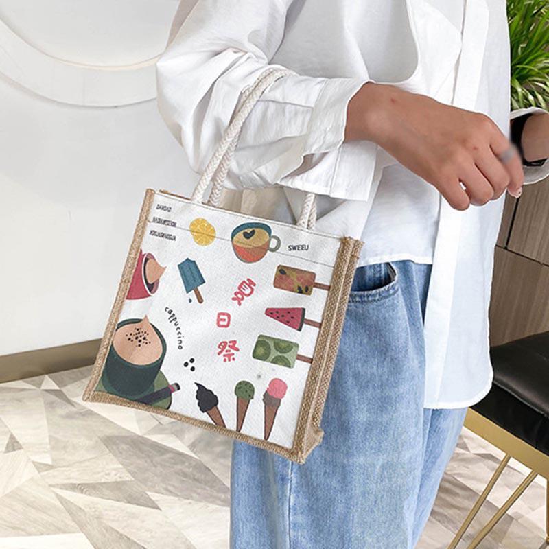 Túi Đeo Vai Vải Canvas Thiết Kế Đơn Giản Xinh Xắn Dễ Phối Đồ