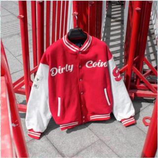 1hitshop Áo khoác bomber DirtyCoins Embroidered Varsity Jacket Red nam nữ 2 màu cực đẹp như hình