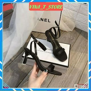 giày cao gót đẹp  ❤FREESHIP❤Giày sandal nữ màu đen quai mảnh gót nhọn 7p cao cấp kiểu dáng hottrend 2020- VINA STORE