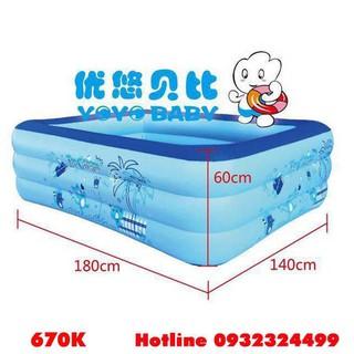 [ SALE ] Bể bơi Yoyo 180*140*60CM 3 tầng tặng bơm điện 2 chiều