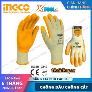 Găng tay bảo hộ lao động phủ cao su đa năng INGCO HGVL03 bao tay phủ PU chống cắt trơn trượt chống dầu tăng độ bám
