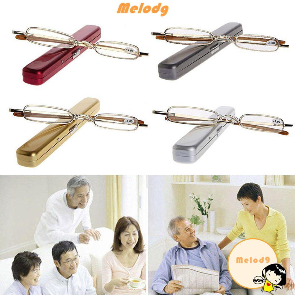 💍MELODG💍 Unisex Elderly Slim Small Metal Frame Mini Portable Eyewear