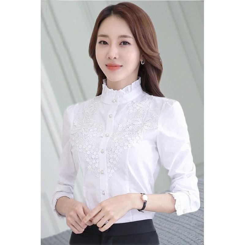 ฤดูใบไม้ร่วงของผู้หญิงเสื้อชีฟองแขนยาวนักเรียนหญิง 2019 บวกกำมะหยี่เสื้อใหม่เสื้อลูกไม้เกาหลี bottoming ผู้หญิงเสื้อเชิ้