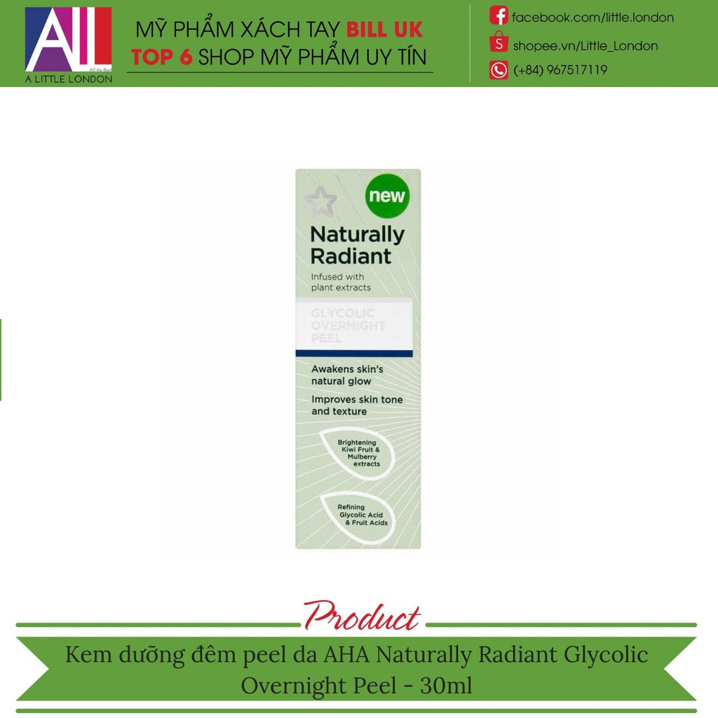 b86b325aea Kem dưỡng đêm AHA Naturally Radiant Glyconic Overnight Peel - 30ml (Bill  Anh)