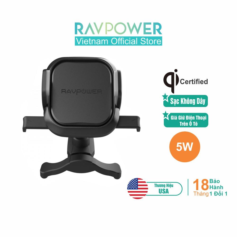 Giá Đỡ Điện Thoại Trên Ô Tô, Xe Hơi RAVPower 5W Sạc Không Dây, Đế Giữ Chắc Chắn RP-SH008