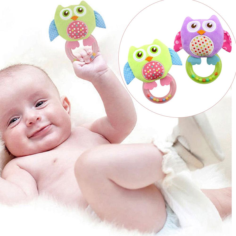 Plastic Baby Rattle hand Bell Toy 5 Style Owl Bird Chicken Animals Plush Happy Monkey Puzzle toy Gift