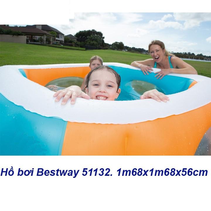 hồ bơi phao vuông 1m68x1m68 cao 51cm đáy mềm, thành cao dày Bestway