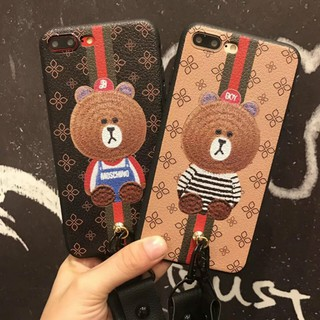(Ready Stock))OPPO R9s R9sPlus Cartoon Bear Soft Case Back Cover With Lanyard