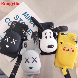 3D Kaws Bear Pikachu Snoopy Case Samsung Galaxy S20 FE A42 A12 5G M51 M31S M01 A01 Core M30S M21 A20S A10S Phone Case Wallet Soft Case+Lanyard Back Cover