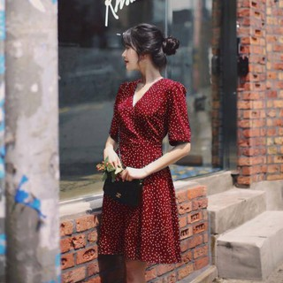 Đầm Công Sở Vneck Cột Eo Thanh Lịch, Đầm Vintage Chấm Bi Xòe Nữ Tính Ms1113