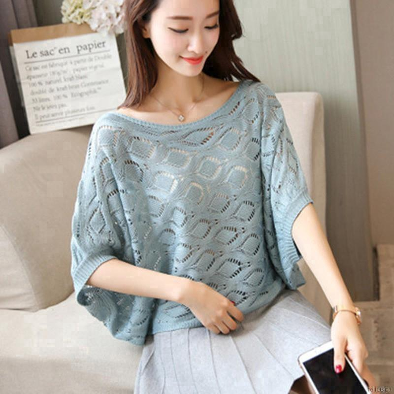 Women's Sexy Hollow Out Half Sleeve Knitted Blouses