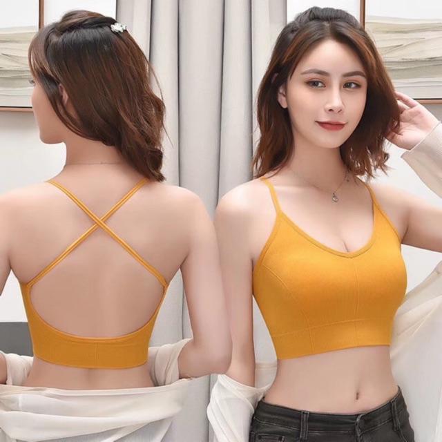 BRA gym yoga dây đan lưng dáng lửng  áo thể thao bra không gọng đệm chắc chắn thoải mái co dãn tốt