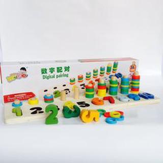 Giáo Cụ Montessori Bộ Học Đếm Bậc Thang 10 Cột Tính Bằng Gỗ