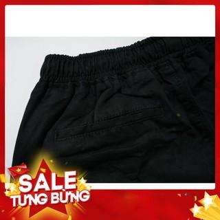 Quần đùi nam đẹp chất kaki đen trơn lưng thun unisex | HD5000 – Hàng nhập khẩu