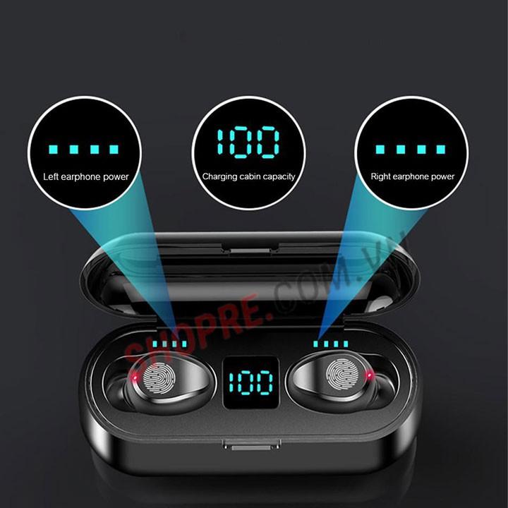 Tai nghe Bluetooth True Wireless F9 V5.0 -KIÊM SẠC DỰ PHÒNG 3000 mAh
