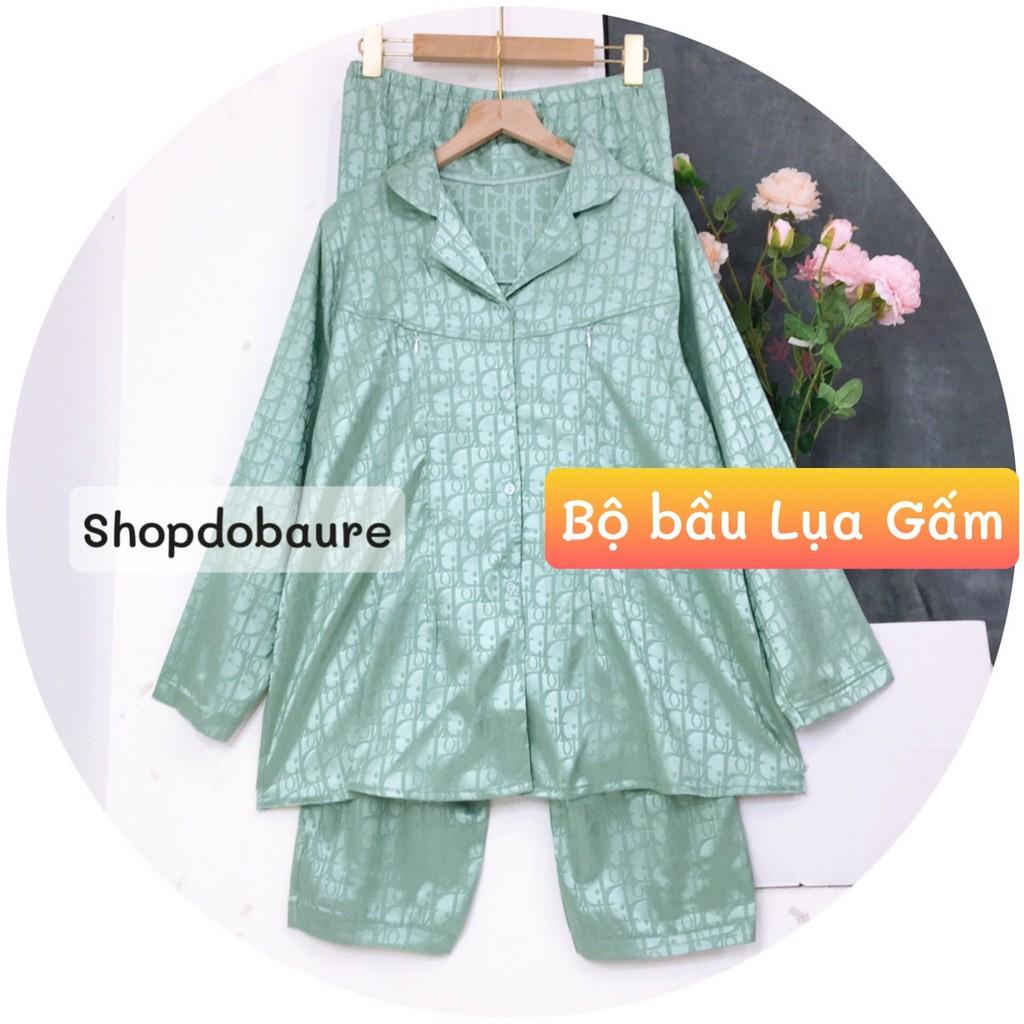 Bộ Pijama sau sinh lụa gấm Dài Tay mặc 2 chức năng bầu và sau sinh có khóa cho con bú