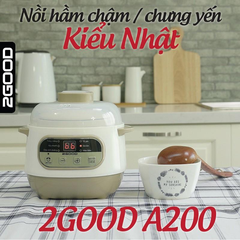 Nồi nấu chậm, nồi hầm chậm, nồi nấu cháo kiểu Nhật đa năng 2Good A200 1L