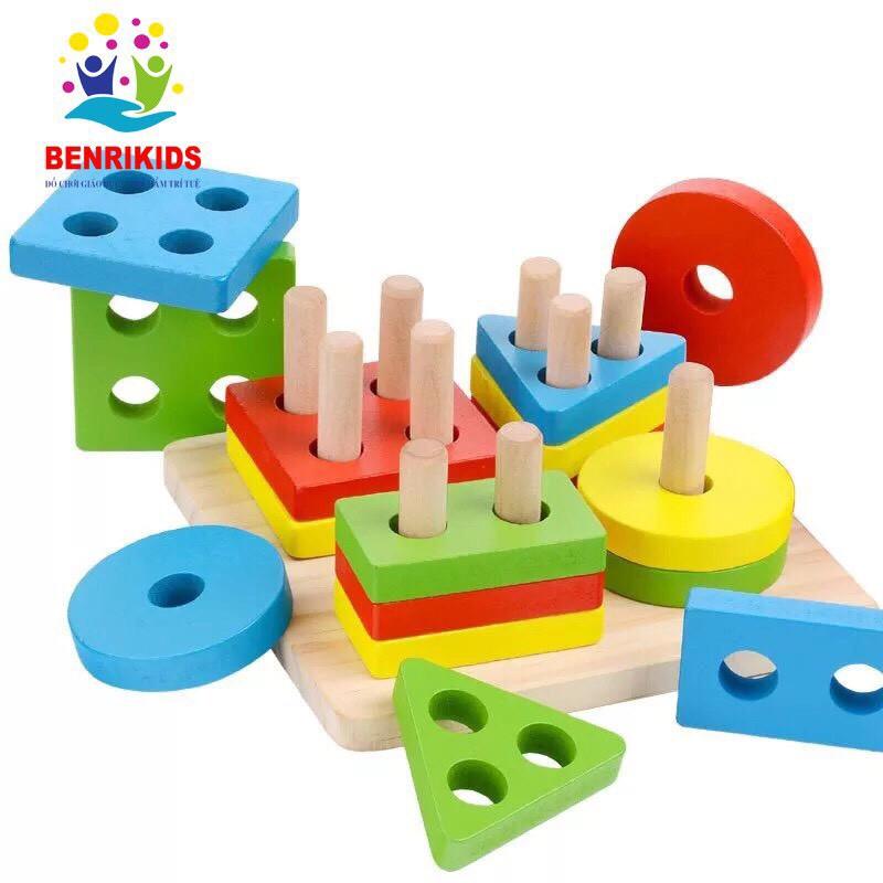 Đồ Chơi Montessori Bảng Chuỗi Thả Hình Bằng Gỗ Giúp Bé Tư Duy Logic (Shape String)