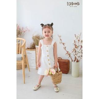 Đầm hai dây bé gái cotton thêu hoạ tiết Ecobambi
