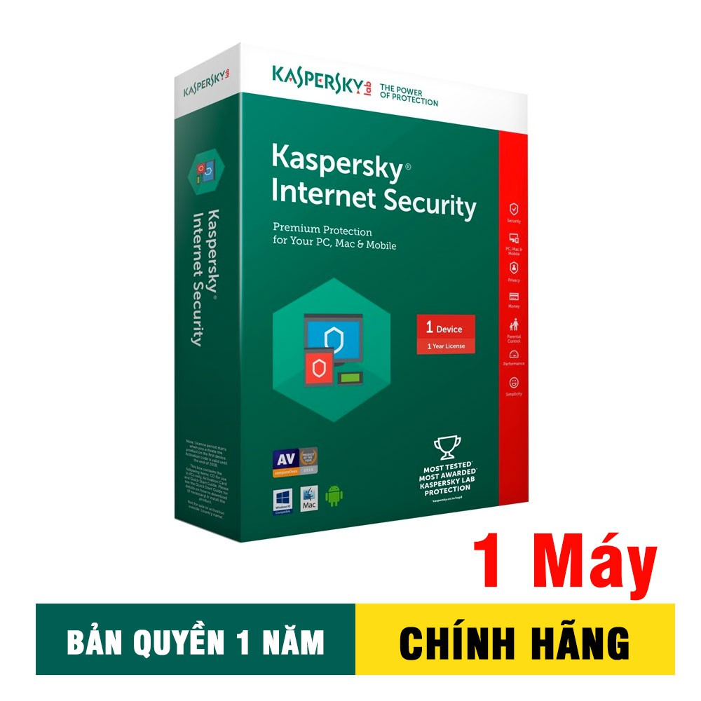 Phần mềm diệt Virus Kaspersky Internet Security (1 máy tính/1 năm) Giá chỉ 299.000₫