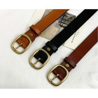 Yêu Thích[Mã FAMS12 hoàn 12K đơn 50K] Thắt lưng, dây lưng thời trang nữ, da thật, khóa kim lật hình Oval màu đồng.
