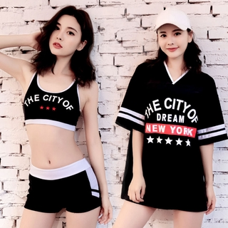 Swimsuit Women's Split Sexy Bikini Three-Piece Small Chest Gathered to Cover Belly Slimming Conservative Korean-Style Student Swimsuit