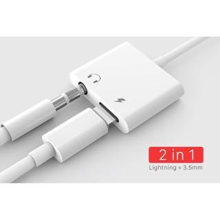 (Sale cực sốc) Cáp chuyển đổi tai nghe iPhone 7/8/X sang 1 chân Lightning và 1 Cổng 3.5