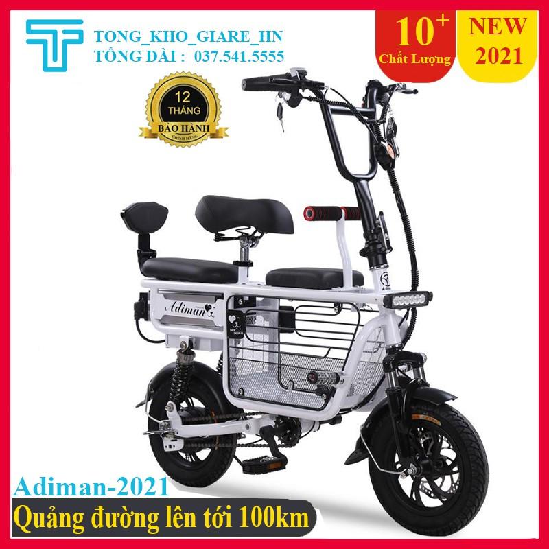 Xe Điện Mini Gấp Gọn, Xe điện  ADIMAN X1, Xe Đạp Điện Giỏ To, Xe điện 3 Ghế Ngồi - Pin Khủng Lithium 48v-20A