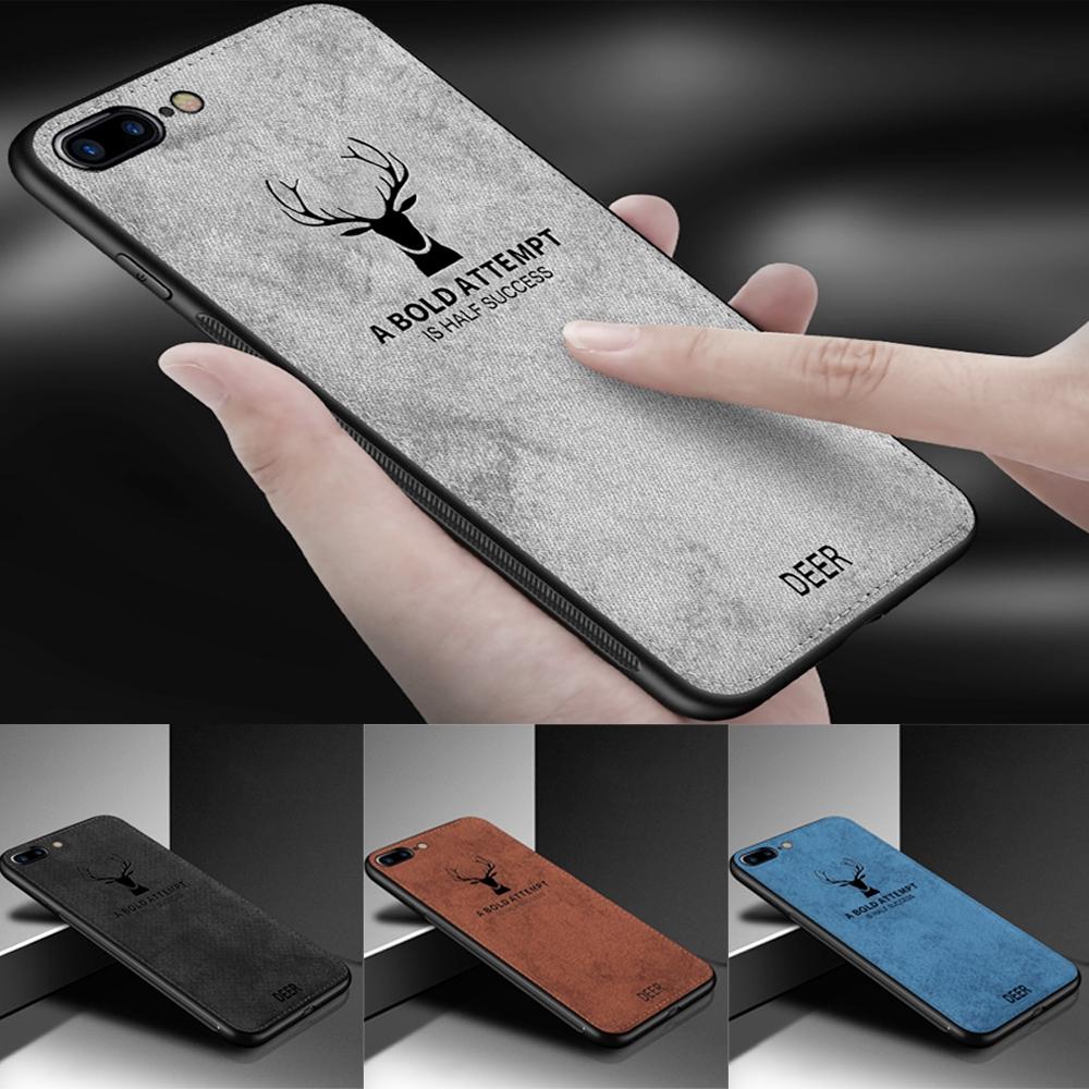 Ốp điện thoại siêu mỏng bằng vải với họa tiết nai sừng tấm cho iPhone 6 6s 7 8 Plus X XS MAX XR
